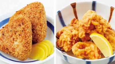 焼きおにぎりと鶏の唐揚げ